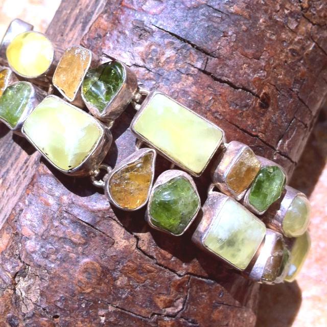 Rough tourmaline and citrine quartz and phrenite