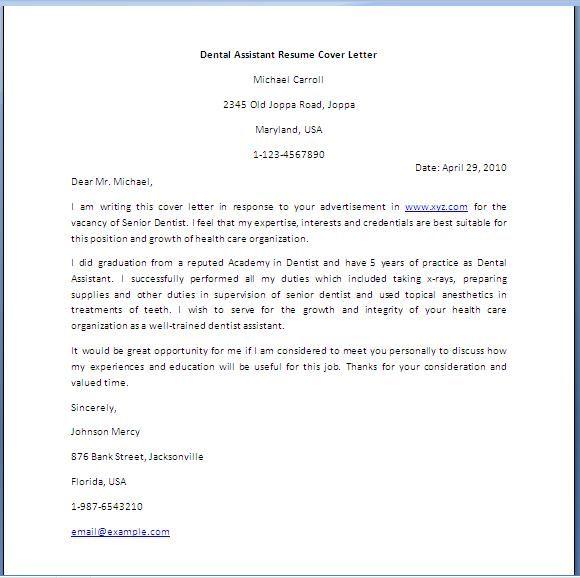 Dental Assistant Cover Letter  DentalAssistantResume