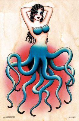 octopus mermaid tattoo flash