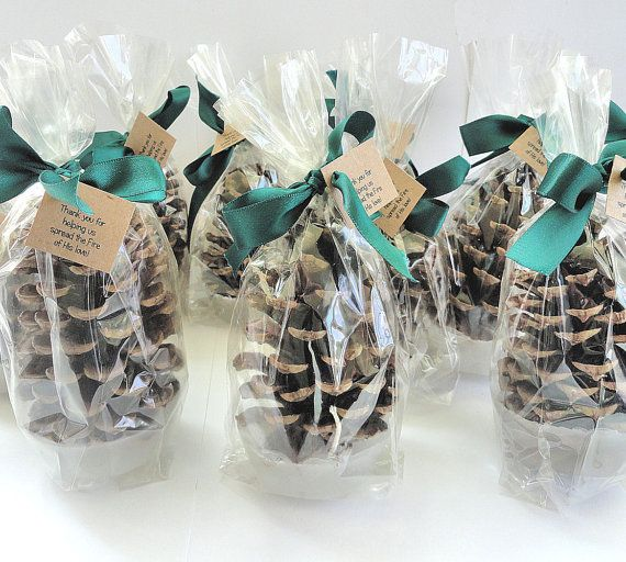 25 Pinecone Fire Starter Winter Wedding Party Favor   Emerald Green Wedding  Favor Table Decoration Personalized Party Favor By Nature Favors
