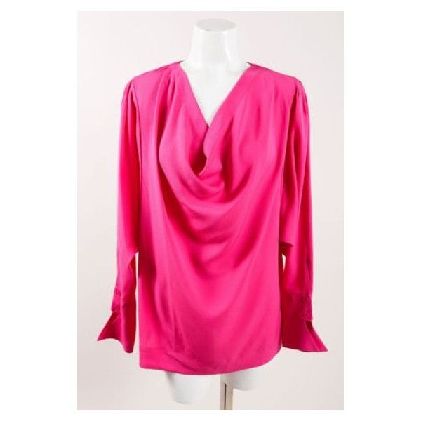 Pre-Owned Yigal Azrouel Pink Silk Cowl Neck Dolman Sleeve Blouse Sz 2 ($85) ❤ liked on Polyvore featuring tops, blouses, pink, batwing tops, batwing dolman top, pink silk top, cowl neck blouse and sleeve blouse