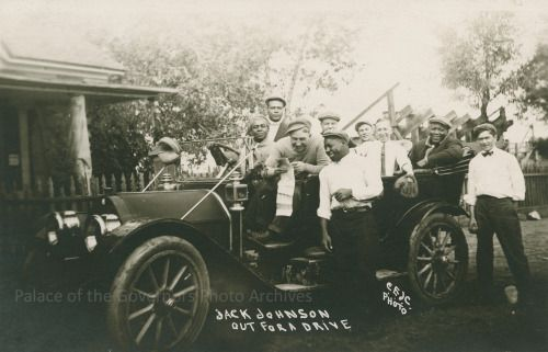 Boxer Jack Johnson out for a drive, Las Vegas, New MexicoDate: 1912Negative Number 087475