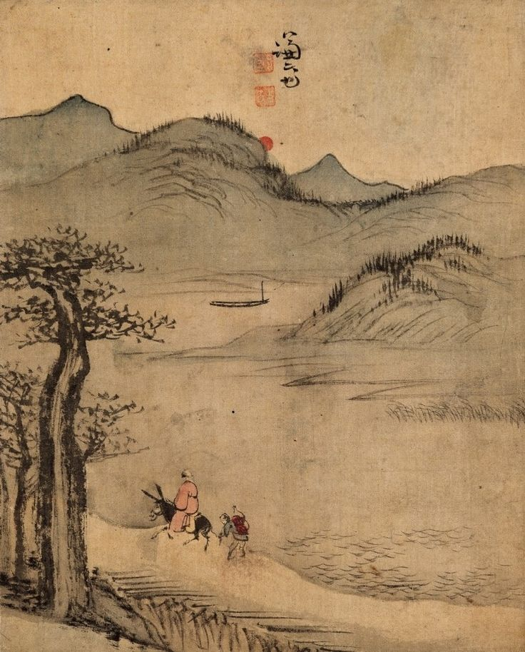 (Korea) Riding Donkey by Gyeomjae Jeong Seon. ca 18th century CE. color on paper. 겸재 정선. 기려도.