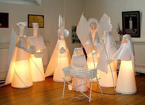 Life sized paper nativity scene in London