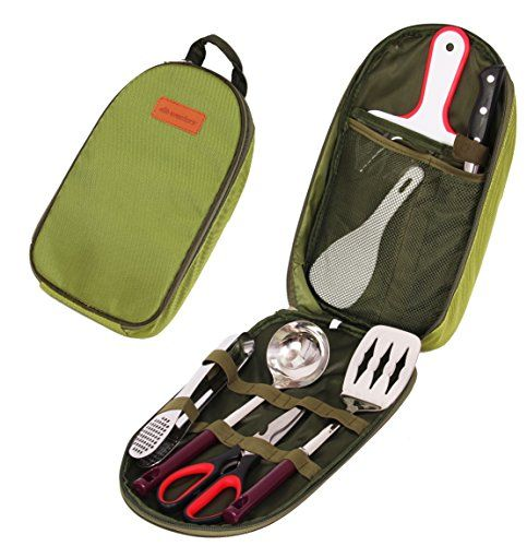 Wealers 7 Piece Outdoor Indoor Camping Bbq Cooking Utensils Set Kitchenware Cookware Set, Cutting Board, Rice Paddle, Tongs, Scissors, Knife, (Green). For product info go to:  https://all4hiking.com/products/wealers-7-piece-outdoor-indoor-camping-bbq-cooking-utensils-set-kitchenware-cookware-set-cutting-board-rice-paddle-tongs-scissors-knife-green/