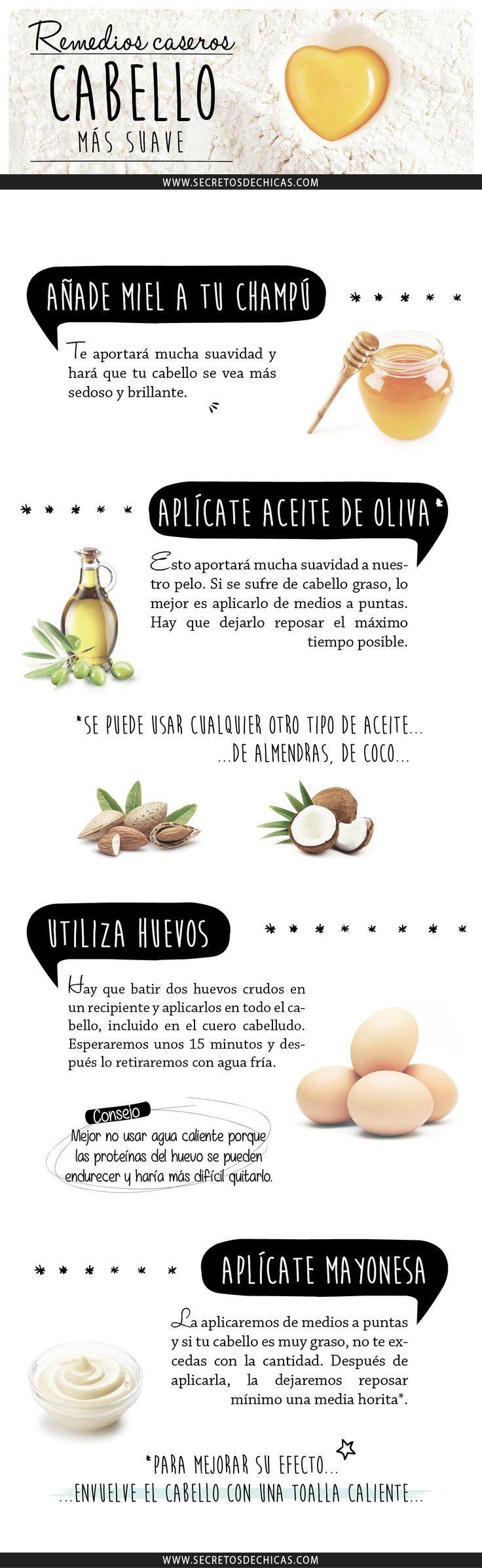 Remedios caseros para lograr un cabello más suave. #remedios #infografia #cabello