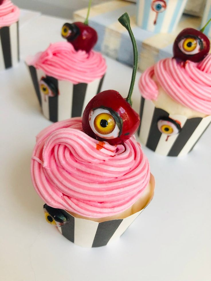 Halloween Scary Cherry Creepy Eye Faux Cupcakes in 2020