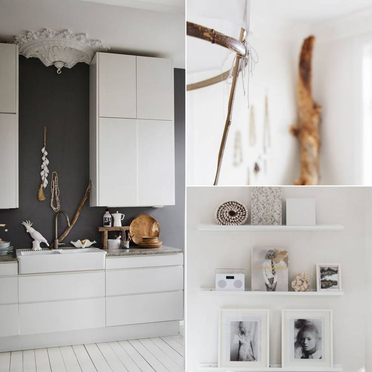 NATURLIG: Til venstre: En mørk kontrastvegg fremhever takrosetten. Kjøkkeninnredning fra Ikea med fronter fra Studio 10. Benkeplate i granitt. Papegøye fra Milla Boutique. Øverst til høyre: taklampe fra Ay Illuminate. Nederst til høyre: Bildelister på veggen gjør det enkelt å variere uttrykket ved å bytte om på gjenstander og bilder.