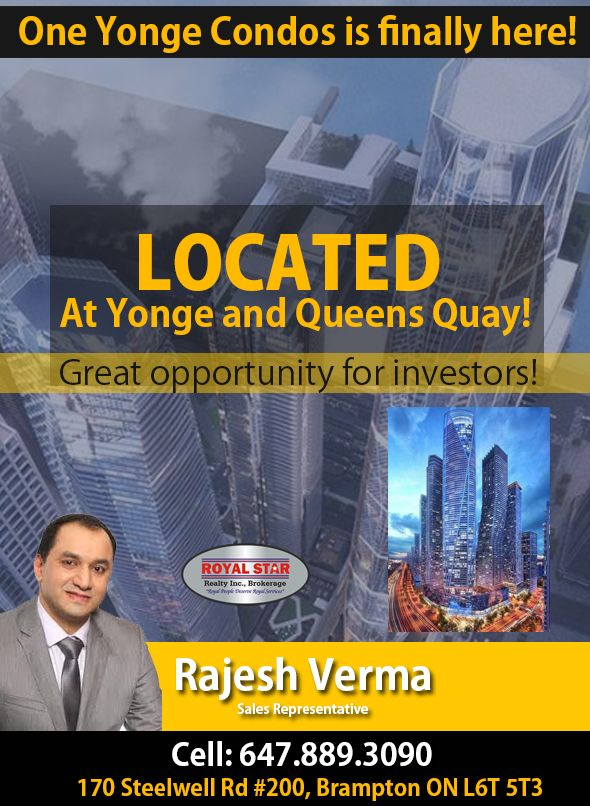 🌟🌟🌟 One Yonge Condos Is Finally Here! 🌟🌟🌟 🌟 Introducing Up To 95 Storey Towers At 1 Yonge Street Toronto 🌟 🌟🌟🌟 Located At Yonge & Queens Quay! 🌟🌟🌟 EXCLUSIVE VIP ACCESS - ONE YONGE - REGISTER NOW! Call: 647-889-3090 Email: RealtorRajeshVerma@gmail.com #Invest #Buy #Sell #Realtor #RajeshVerma #RoyalStar #Realty #RealEstate