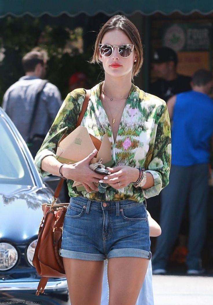 Alessandra Ambrosio summer street style with denim shorts. #denimshorts #alessandraambrosio