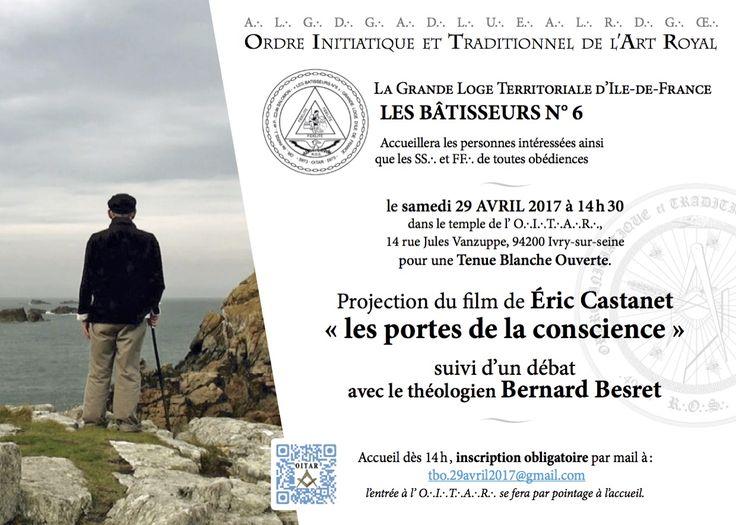 Ivry-sur-seine – Le OITAR organise le samedi 29 avril 2017 une Tenue Blanche Ouverte avec le film d'Eric Castanet «les portes de la conscience» consacré àBernard Besretsuivi d'un débat avec le théologien. Bernard Besret, habité tout jeune par une soif d'absolu, est devenu moine cistercien, puis prieur de l'abbaye de Boquen, où il a été l'une des grandes figures de la contestation interne à l'Eglise dans les années 60 et 70. Il finit par quitter l'institution et mène une vie laïque et…