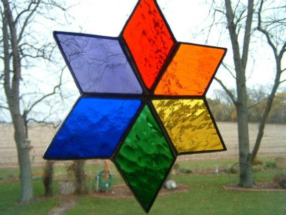 Stained Glass Rainbow Star Suncatcher by islandglass1 on Etsy, $25.00
