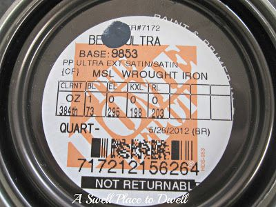 "Martha Stewart ""Wrought Iron"" formula in Behr paint - Back to Home Depot I headed to pick up a small can of Behr Premium Plus Ultra exterior paint in satin finish, colour matched to the Martha Stewart colour.  The quart set us back $24, which is a heck of a lot cheaper than a whole new door."