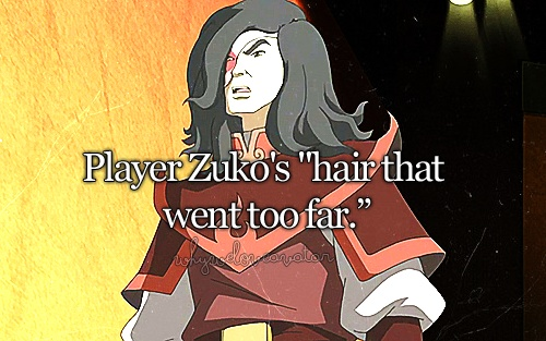 """Prince Zuko, it's time we had a talk....ABOUT YOUR HAIR! it's gone too far!!"" ""Maybe it's better if we...split. up."""
