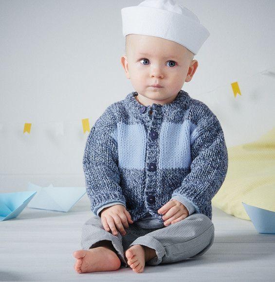 Ohé petit matelot ! Faites de votre bébé le capitaine rayures grâce à ce gilet tricoté en PHIL RIO coloris jean et en Fil AVISO coloris horizon. Modèle n°17 du catalogue n°139, layette, printemps-été 2017