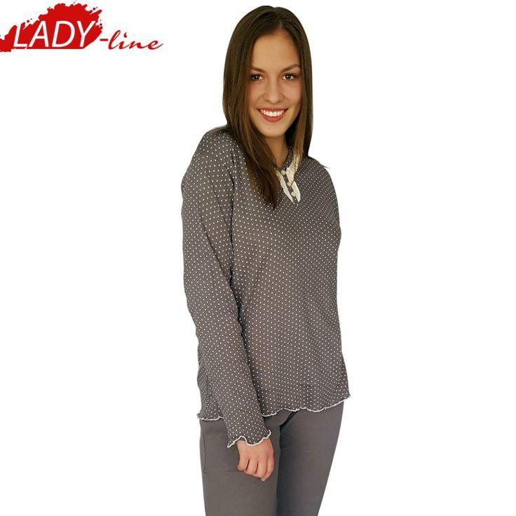 Poze Pijamale Dama Maneca Lunga, Model Inocent & Beauty, Brand Italian Fashion Design, Material Bumbac 100% Interlock, Culoare Gri, Pijamale Dama Calitate 100%