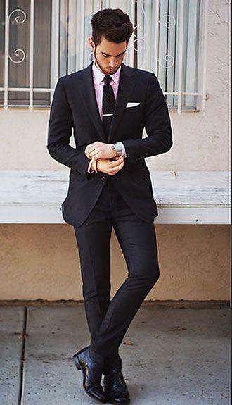 ブラックスーツ×ピンクシャツの着こなし | スーツスタイルWEB