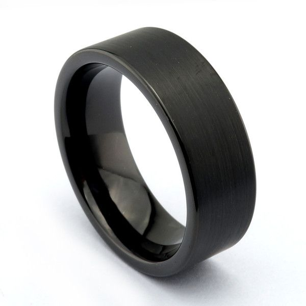 This black matte ring has a natural black stone look. With it's simple masculine design it makes an incredible band. It features an 8mm band width and a flat