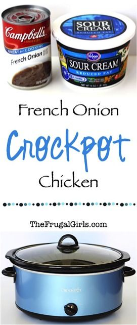 Make dinner incredibly delicious with this seriously EASY 3-Ingredient Crock Pot French Onion Chicken Recipe! Skip the effort and have all the flavor!