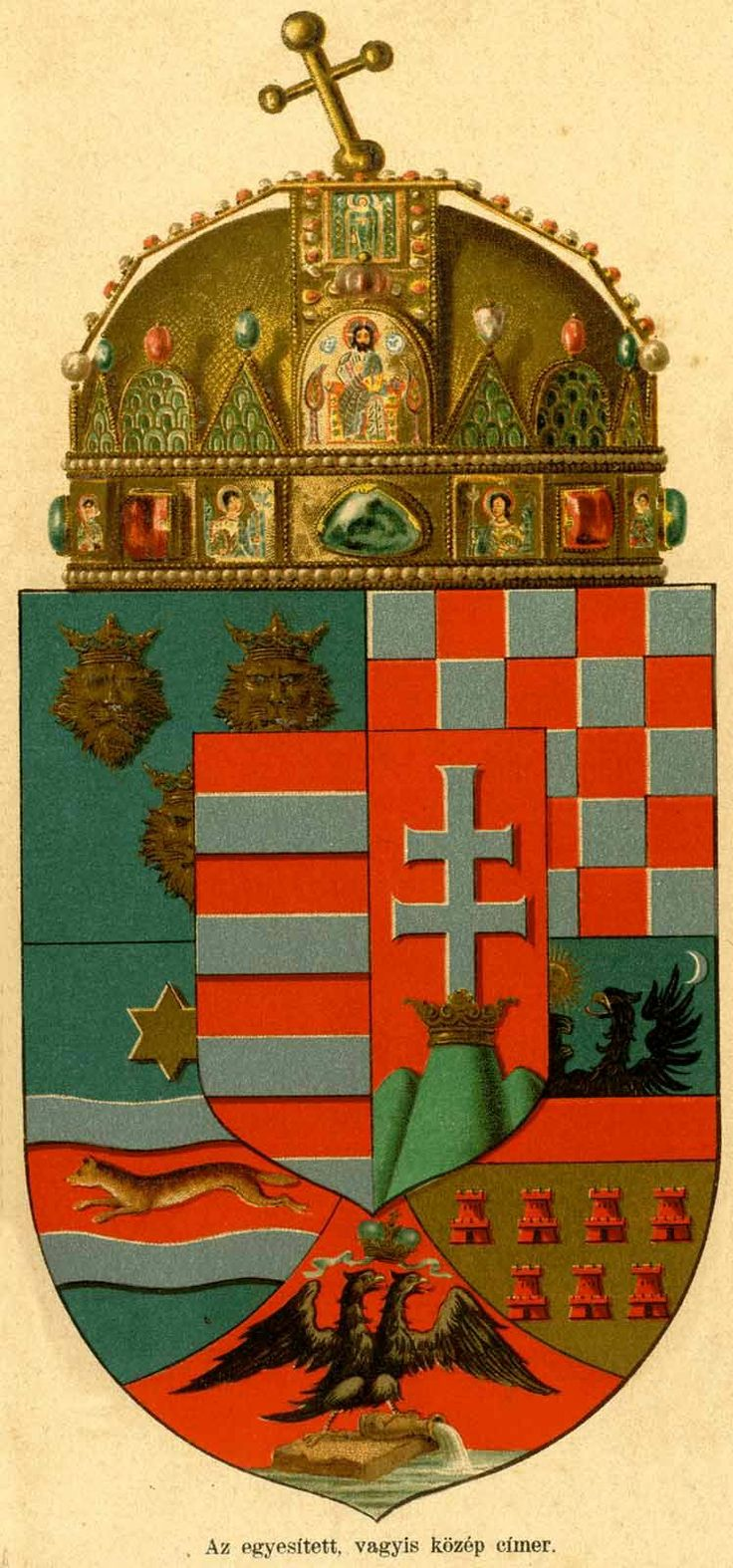 Empire of Austria-Hungary, medium coat of arms of the Hungarian Countries, without supports, 1867-1915.
