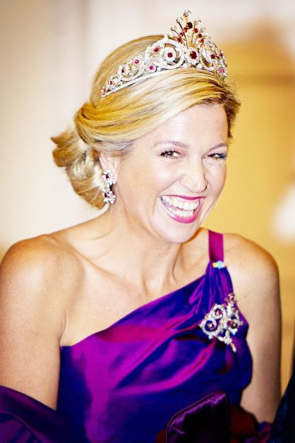 Queen Maxima of the Netherlands, wearing a portion of Ruby Peacock parure on a state visit to Poland, June 2014.