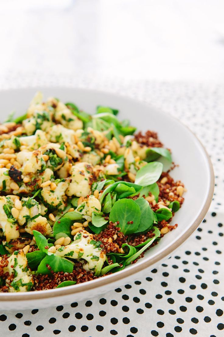 Browned Cauliflower Red Quinoa Salad
