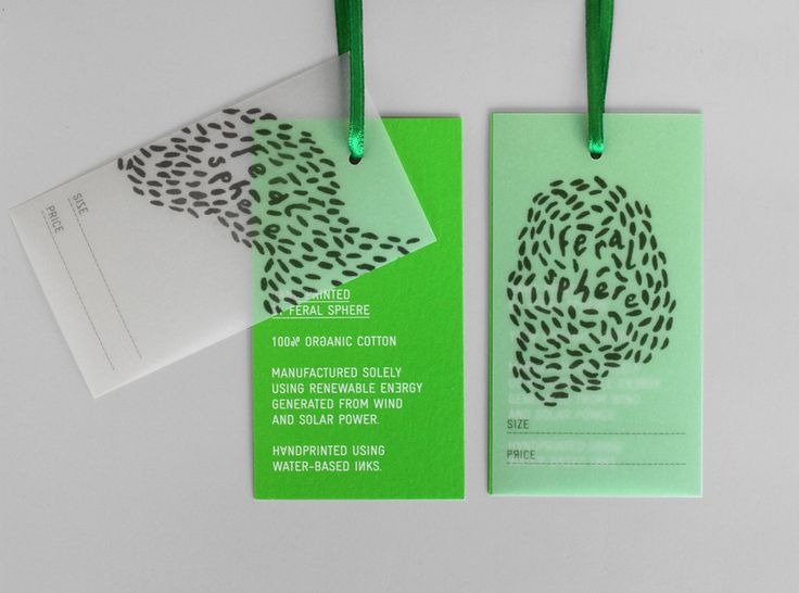 Logo and tags with a bright fluorescent spot green print finish designed by Mind for fashion label Feral Sphere.