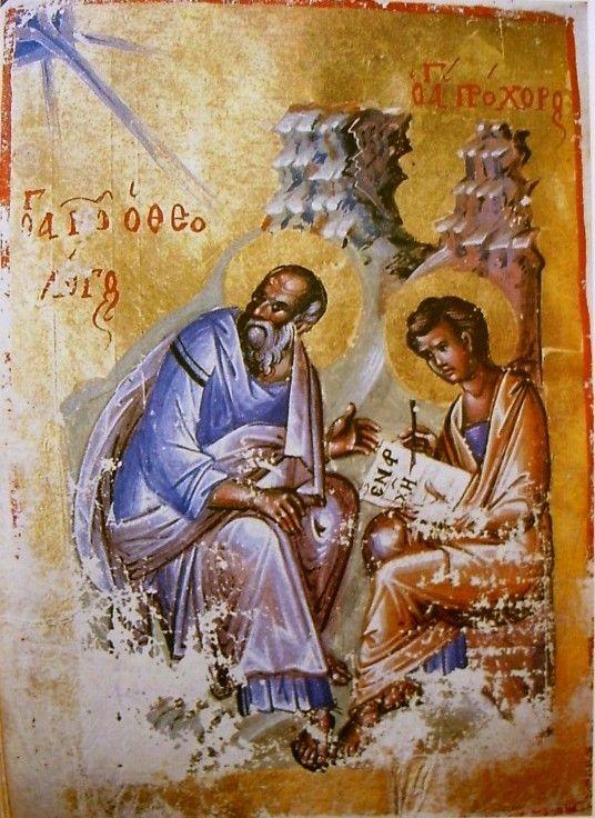 Újszövetség, 14. sz. I. fele, (Bécs, Nat. Bibl., theol.gr. 300): János evangélista és Prochórosz