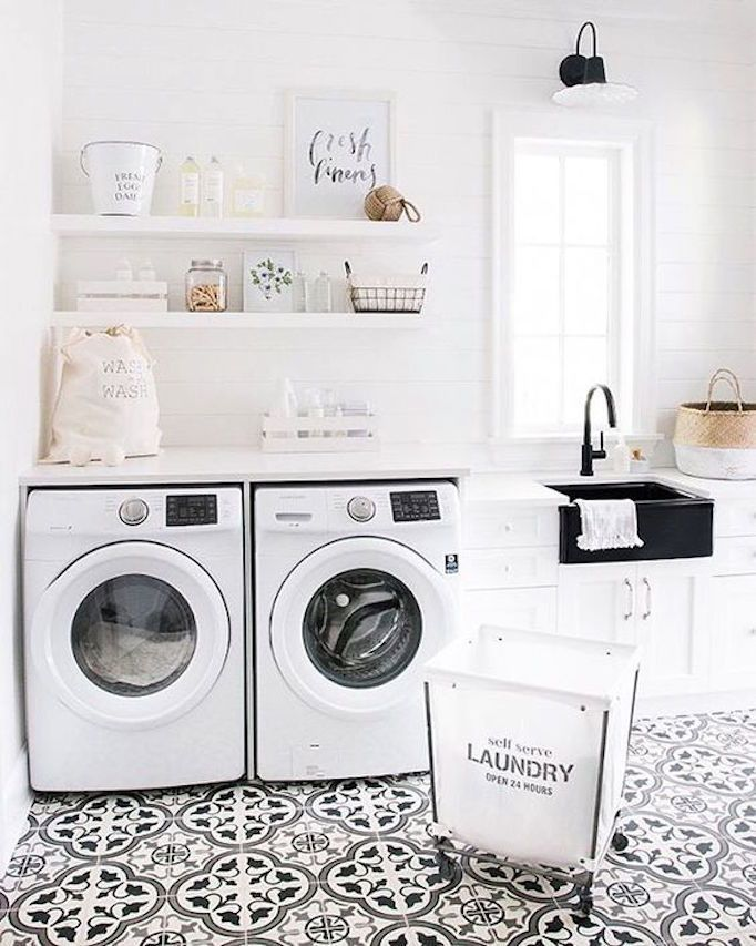 SummerSunHomeArt.Etsy.Com - Inspiration | Minimalist Home Decor Ideas, White Interior, Modern Vintage, Bedroom, Living Room, Bathroom, Kitchen, Grey, Office, Apartment, Modern Farmhouse, laundry room, cement tile.