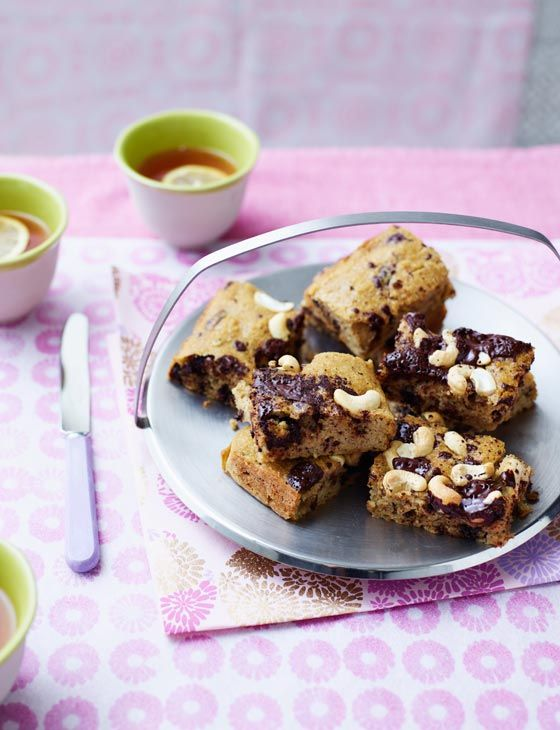 Cashew and chocolate chip squares. A healthy and gluten-free bake for Easter.