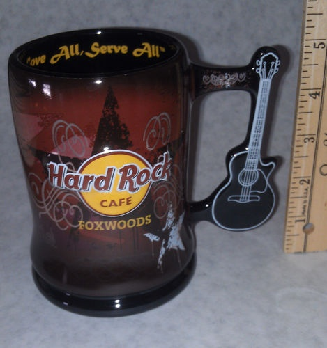 Hard Rock Cafe Foxwoods Guitar Handle Beer Coffee Mug New