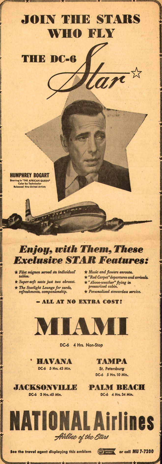 0 humphrey bogart - dc-6 star national airlines ad