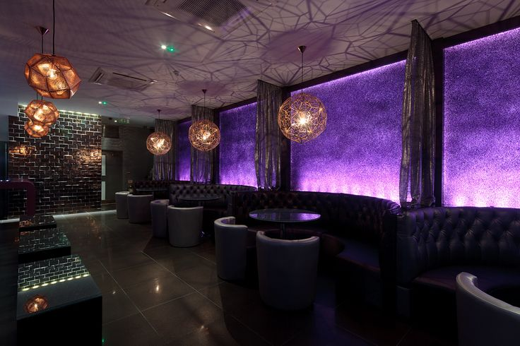 Amethyst wall & Tom Dixon reflective lighting scheme we designed in Essex Vetro bar