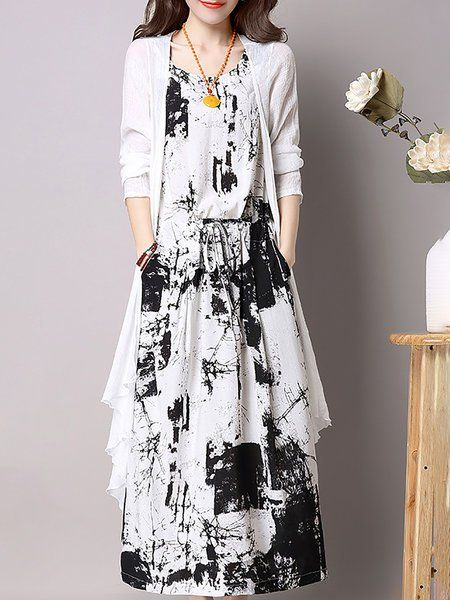 3a3ccdc7a0d Shop Linen Dresses - Abstract Casual Long Sleeve Printed Crew Neck Linen  Dress With Coat online. Discover unique designers fashion at StyleWe.com.