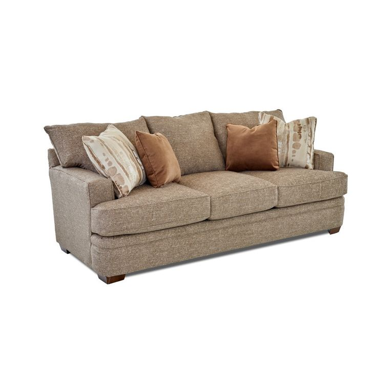 Klaussner Furniture Chadwick Supreme MIneral Sofa with Pillows in Famous Coconut