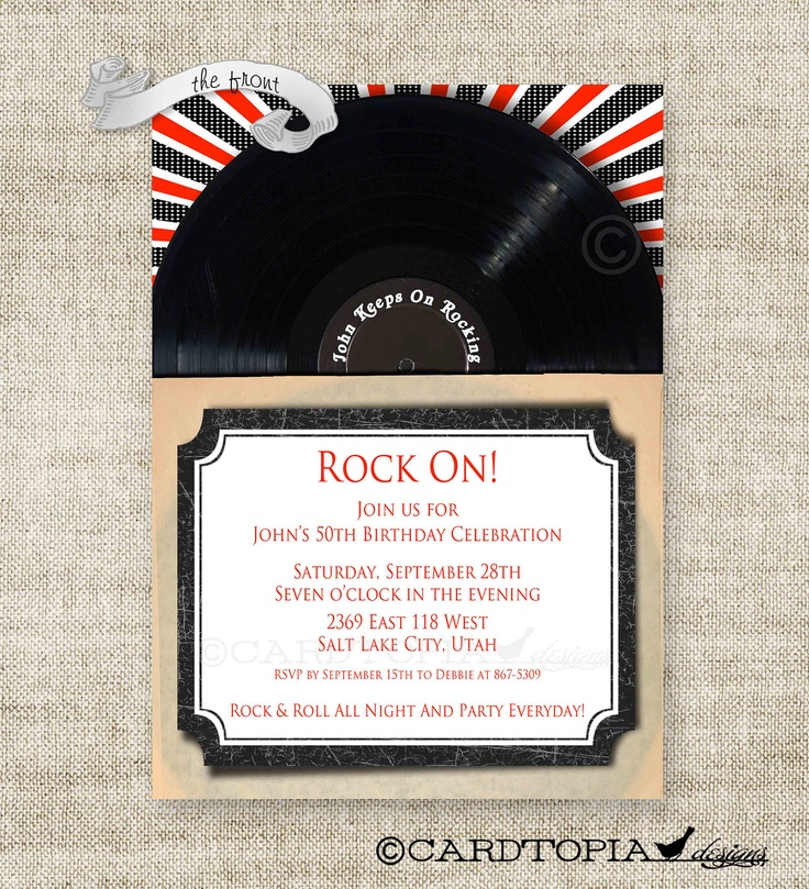 handmadest birthday party invitations%0A ROCK and ROLL Birthday Party Invitations Retro Vinyl Record Adult Party  Invitations Digital DIY Printable Personalized