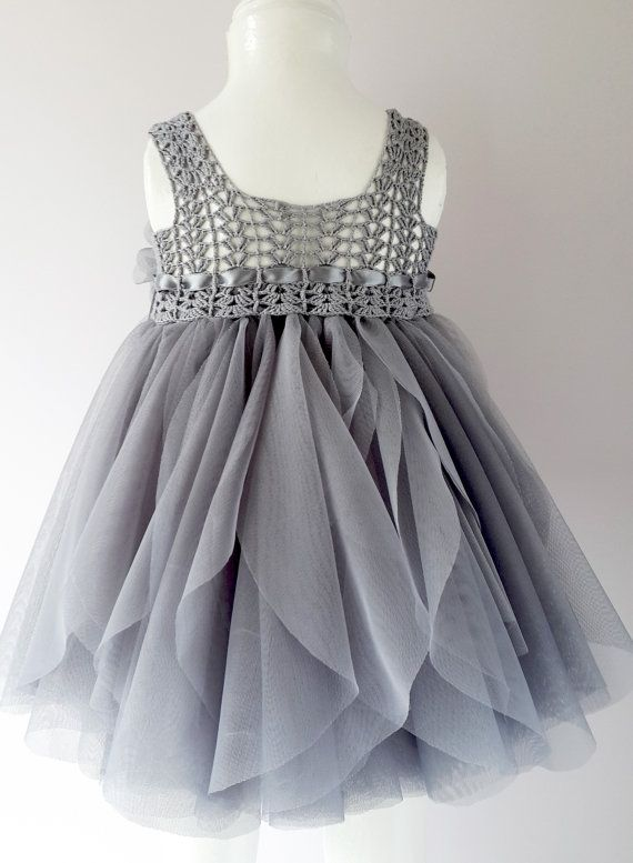 Silver Gray Baby Tulle Dress with Empire Waist and by AylinkaShop