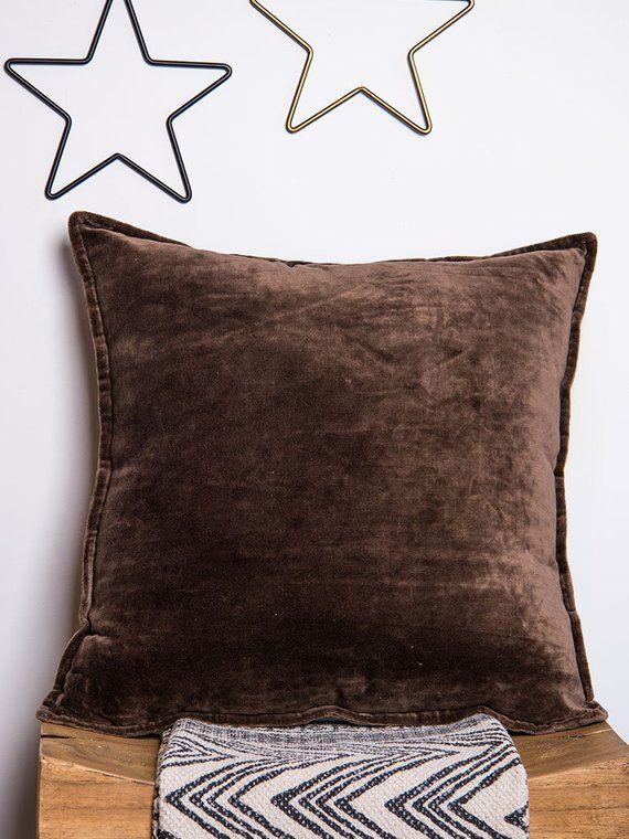 Velvet Pillow Plain Chocolate Decor Pillow Decorative Pillow Delectable Plain Decorative Pillows