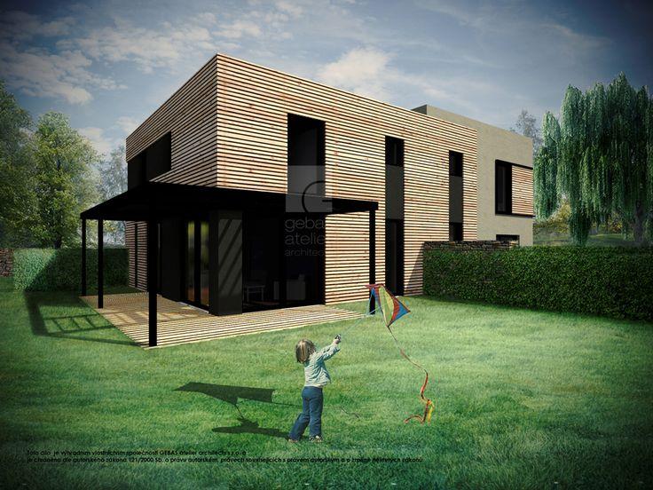 Obytný prostor zahrnuje kuchyňský kout, jídelnu a obývací pokoj, ze kterého je přístup na venkovní terasu.