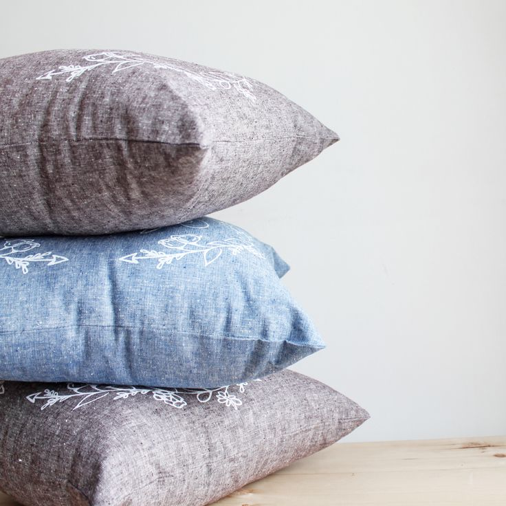 Organic cotton and linen blend chambray pillows by Twill & Print