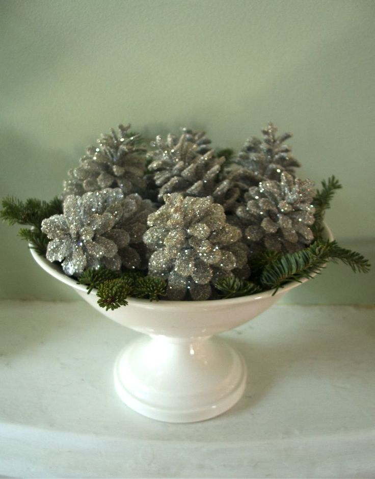 glitter pinecones (spray with spray paint or adhesive & add glitter while still wet)