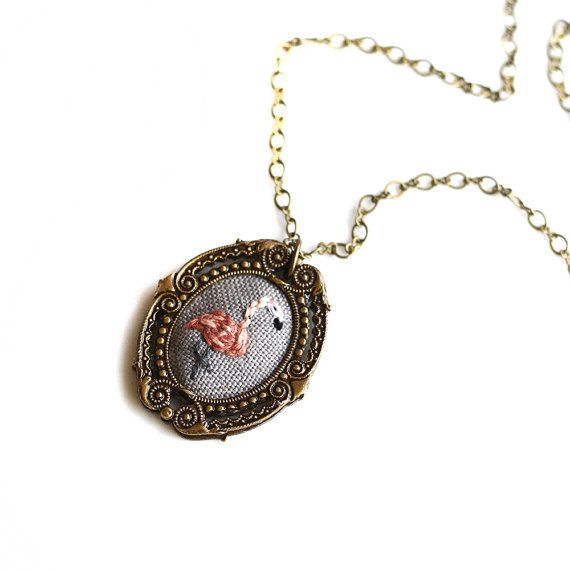 Ohhh i want one  https://www.etsy.com/listing/192955870/mr-flamingo-hand-embroidered-necklace