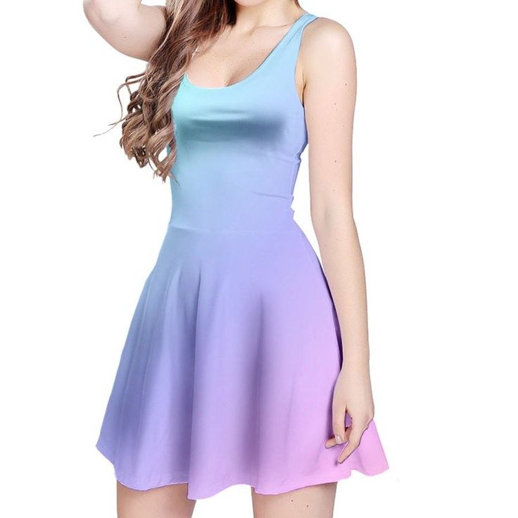 Green to Blue to Purple to Pink Ombre Reversible Dress