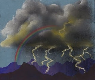 Love this idea, but I think we will do just the storm scene and then just the rainbow scene separately for two art classes. -- The mountains are drawn with prismacolor markers and the rest is done in chalk pastel