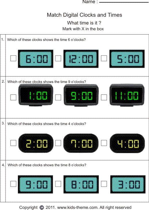 Digital clock worksheets year 1