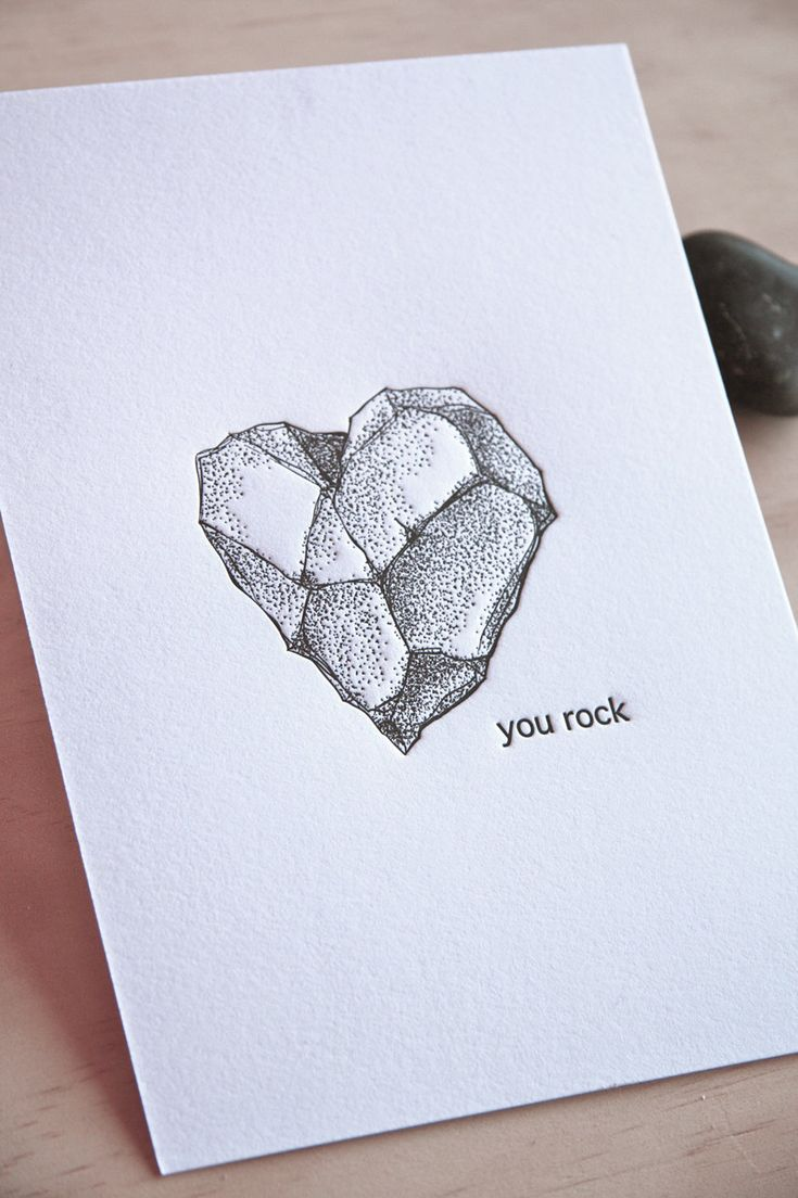 "Love, Romantic gift You rock letterpress 5x7"" art print, geology heart shaped rock, rock heart, illustration black and white ink made in Aus. $15.00, via Etsy."