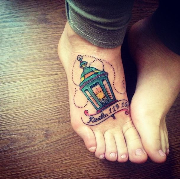 psalm 119:105 - your word is a lamp to my feet and a light to my path. Foot tattoo.