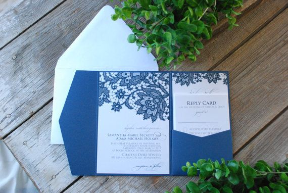 Wedding Invitation  Lace with Pocket and by birdhousestationery, $6.70