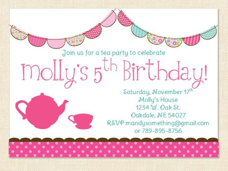 56 best images about Princess tea party ideas – Little Girl Tea Party Invitations