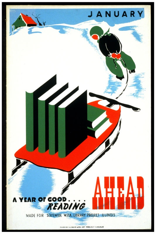 January is a good month for reading. Neat vintage library poster